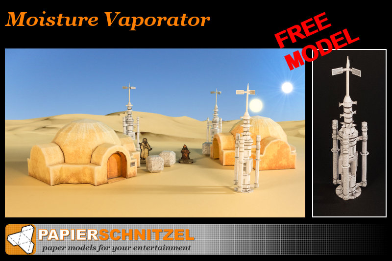 free moisture vaporator paper model from Star Wars A new hope