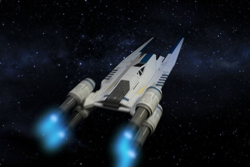 U-Wing paper model in space
